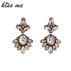 Brincos Womens New Year Gift 2015 Antique Gold Plated Transparent Rhinestone Earrings