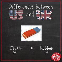 """Você sabiam que muitas palavras possuem variação entre o inglês britânico e o inglês americano? Temos como exemplo a palavra borracha, que nos Estados Unidos é comumente chamada de """"eraser"""", enquanto na Inglaterra a forma mais utilizada é """"rubber""""!"""