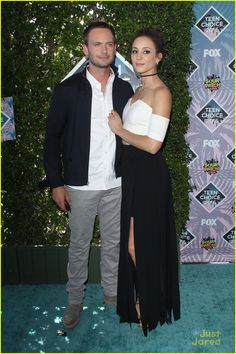 Troian Bellisario and her fiance Patrick J. Adams at the Teen Choice Awards 2016