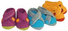 Zapatitos cruzados tejidos en dos agujas o palitos para bebes en 3 tallas!