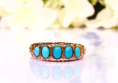 Antique Cabochon Turquoise Ring 14K Gold by LadyRoseVintageJewel