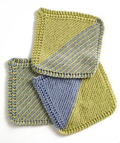 Garter Square Washcloths #knit #free_pattern