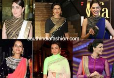 actresses in high neck blouses