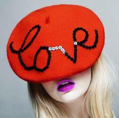 Red LOVE beret & bright lipstick.