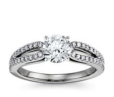 Blue Nile Micropavé Loop Diamond Engagement Ring in 14K White Gold