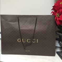 Gucci Shopping Bag large size Gucci shopping bag . Very large size! Just bought Gucci boots today in this! Gucci Bags Totes