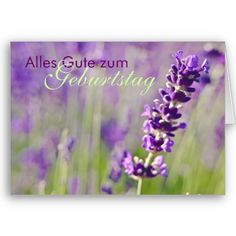 $4.45 German birthday card with a gorgeous photograph of a lavender flower.