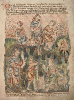 Жертвоприношение Авеля и Каина. Благоволение Божие к Авелю; Англия; XIV в.; памятник: Библия (Bible ('Holkham Bible Picture Book'). 1327-1335гг.