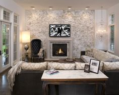 30 Living Rooms with White Brick Walls | #Home Design and Decor