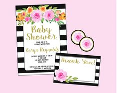 Baby Shower Invitation. Bridal Shower by LilacsAndCharcoal on Etsy