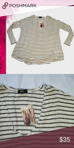 402bbf42b7648 (Urban Outfitters) NWT BDG Oversized Sweater Black and White striped  sweater