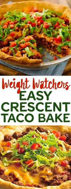 Weight Watcher's Pillsbury's Crescent Roll Taco Bake! Skinny Recipes, Ww Recipes, Low Calorie Recipes, Mexican Food Recipes, Cooking Recipes, Healthy Recipes, Healthy Options, Recipies, Mexican Meals