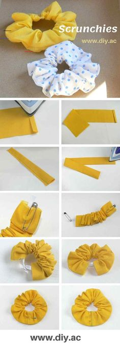 Free Sewing Pattern for Beginners - SCRUNCHIES DIY This is a great sewing project for beginners and perfect for using up scrap pieces of fabrics. Diy Sewing Projects, Sewing Projects For Beginners, Sewing Hacks, Sewing Tutorials, Sewing Crafts, Project Projects, Sewing Toys, Hair Tutorials, Diy Hair Scrunchies