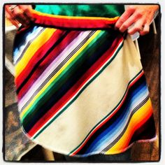 1970s Mexican serape-style print polyester skirt, repurposed from damaged vintage maxi skirt. Purchased at Indie Arts and Vintage Marketplace. Next show March 8.