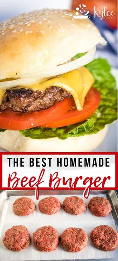 This easy Homemade Beef Burger Recipe will have you skip the drive-through and h. - This easy Homemade Beef Burger Recipe will have you skip the drive-through and head home to chow do - Homemade Burger Patties, Homemade Beef Burgers, Homemade Cheeseburgers, Beef Bourguignon, Beef Stroganoff, Hamburger Meat Recipes, Beef Burger Patty Recipe, Recipe For Burger Patties, Easy Hamburger Patties Recipe
