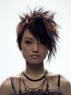 Messy Layered Black with Lighter Highlights Bob Hairstyle
