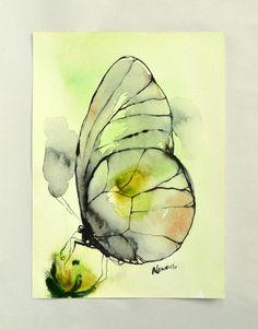 Green butterfly watercolor art original by AlisaAdamsoneArt