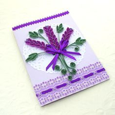 Paper Quilling Greeting Card Paper Quilled LAVENDER Flower Paper Doily Birthday…