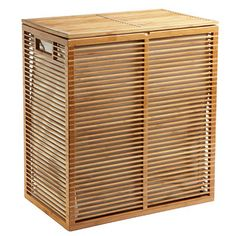 Our Zen Bamboo Laundry Hamper is a stunning solution for containing laundry.  It's so well-designed, you won't want to hide it away in a closet.  Instead, proudly show off the slatted bamboo hamper design in your master bath, bedroom or laundry room.  It has a covered hinged lid and a divided interior liner.