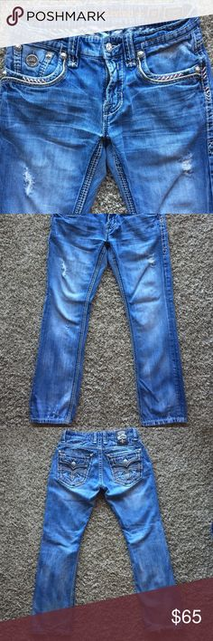 {Rock Revival} Alfred Straight Decent condition. Showing signs of wear on back of heals and on leather label. From a pet friendly, smoke free home. Rock Revival Jeans Straight