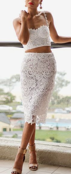 White Lace Fitted Midi Skirt & Top Suit