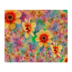 Hippie Psychedelic Flower Pattern Throw Blanket on CafePress.com