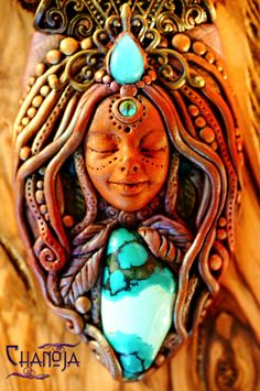 Turquoise Goddess Sophia. By Chanoja Jewelry. Pure Magic! My Shop: www.chanojajewelry.etsy.com Goddessjewelry Goddesspower handmade jewelry unique necklace fairy fae faerie polymer clay creation healing gemstones pure beauty