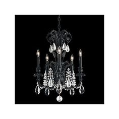 Schonbek Genzano 5 Light Crystal Chandelier Crystal Type: Swarovski Elements Clear, Finish: Polished Silver