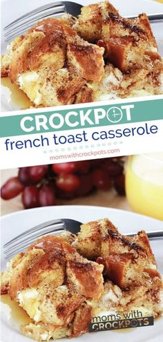 Great for a quick and easy breakfast and perfect for the holidays! This Crockpot French Toast Casserole Recipe is delicious to wake up to! | @MomsWCrockpots #recipes #breakfast #crockpot #slowcooker #frenchtoast