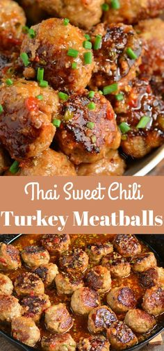 Tender turkey meatballs made with Thai flavors inside and baked in sweet chili sauce. Tender turkey meatballs made with Thai flavors inside and baked in sweet chili sauce. Healthy Recipes, Asian Recipes, Cooking Recipes, Kale Recipes, Quiche Recipes, Bacon Recipes, Recipies, Ground Turkey Meatballs, Healthy Turkey Meatballs