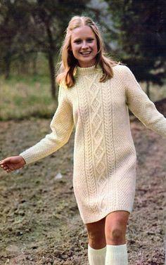 Cable Dress- Vintage Knitting Pattern, Cabled Aran Long Sleeve Minidress, Retro Fashion, PDF InStAnT