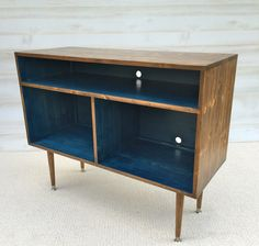 Mid Century Modern Record Cabinet TV Table Media TV Stand Entertainment Cabinet, MCM Navy and Walnut...  Ready to Ship
