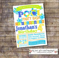 Pool party invitation birthday summer party invite bright colors digital printable invitation 13941 by myooakboutique on Etsy