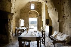 Albergo della Civita.  Matera, Italy. UNESCO world heritage listed. The hotel is spread over a number of Sassi or caves, simply furnished. Lovingly restored.
