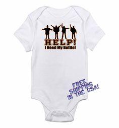 Help I Need My Bottle John Lennon The Beatles Retro Rock 60's 70's Inspired Funny Baby Onesie 0-3m, 3-6m, 6-9m, 12m or 18m