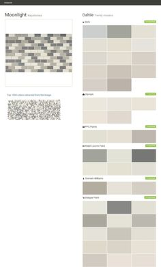Moonlight. Keystones. Trendy mosaics. Daltile. Behr. Olympic. PPG Paints. Ralph Lauren Paint. Sherwin Williams. Valspar Paint.  Click the gray Visit button to see the matching paint names.