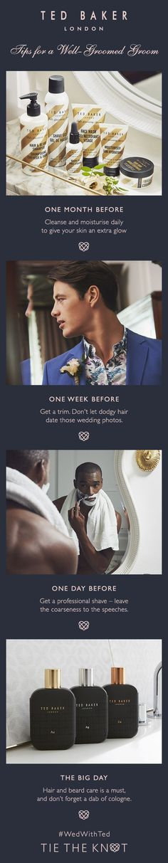 TIE THE KNOT: Ensure you look your best on your wedding day with Ted's tips for the well-groomed groom. Tie The Knots, Bridal Boutique, On Your Wedding Day, Appointments, Ted Baker, Wedding Photos, Groom, Wellness, Mens Fashion