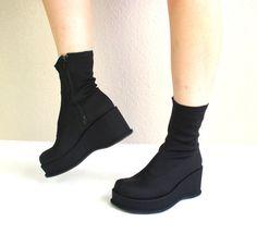 vtg 90s chunky black PLATFORM club kid ANKLE BOOTS 6 shoes grunge goth monster. $80.00, via Etsy.
