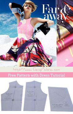 Free Pattern with Dress Tutorial and PDF Pattern Sewing Patterns Free, Free Sewing, Free Pattern, Dress Tutorials, Silk Fabric, Pdf, Summer Dresses, Girls, Fashion