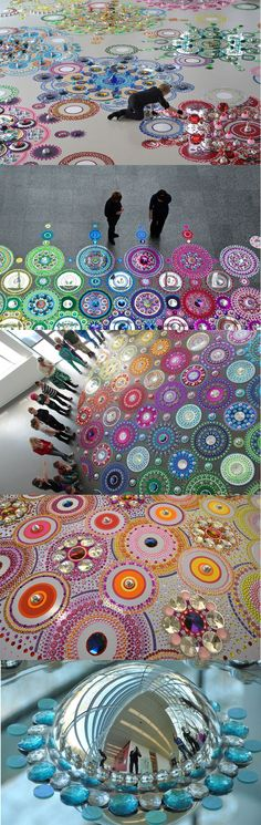 suzan drummen: kaleidoscopic crystal floor installations beautiful inspiration for circle art journal page Land Art, Sculpture Art, Sculptures, Graffiti, Street Art, Instalation Art, Drawn Art, Wow Art, Art Abstrait