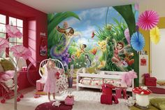 Add a touch of fun to any room with this Disney Fairies inspired wall mural from Komar. Komar Disney murals are in stock at Go Wallpaper UK Bedroom Wallpaper Murals, Wallpaper Uk, Wallpaper Stickers, Kids Room Wallpaper, Disney Wallpaper, Disney Wall Murals, Disney Wall Decor, Tinker Bell Room, Large Wall Murals