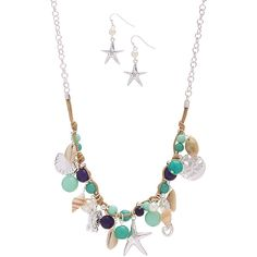 MOA International Corp Turquoise Shell Sea Life Necklace & Starfish... ($8.99) ❤ liked on Polyvore featuring jewelry, earrings, seashell jewelry, starfish jewelry, turquoise heart jewelry, star fish earrings and starfish earrings