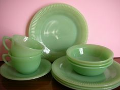 Fire King Jadeite Jane Ray pattern - My grandmother's dishes.