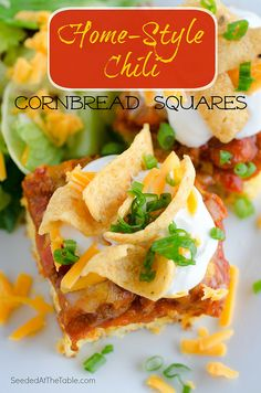 Home-Style Chili Cornbread Squares Recipe ~ Home-style chili over top a hearty layer of cornbread, served with your favorite chili dressings! It's a meal in one.