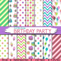 Birthday Digital Paper: Birthday Party Paper with cakes cupcakes balloons ice creams gifts chevrons polkadots in blue, pink, green