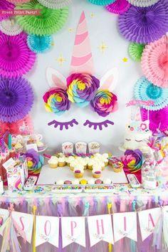 Unicorn Backdrop Printables, Unicorn Party, Giant Unicorn Horn and Ears, Sleepy Eyes, Unicorn Birthd Birthday Party Decorations Diy, 4th Birthday Parties, 2nd Birthday, Paris Birthday, Girl Birthday Themes, Women Birthday, Summer Birthday, Birthday Ideas, Unicorn Diy