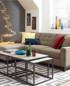 Clarke Fabric 2-Piece Sectional Sofa - Sectional Sofas - Furniture - Macy's