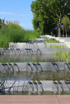 carex: garden design by carolyn mullet Cascading Water Feature, University of British Columbia, Vancouver Landscape Architect: PFS Studio