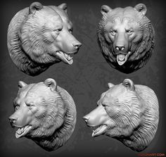 Bear Head sculpture - 3D characters from Voronartcom