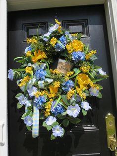 Spring/Summer Door Wreath Door Wreath Spring by hollyhillwreaths